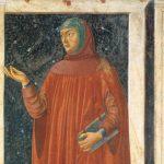 Andrea del Castagno, Francesco Petrarca, particolare del Ciclo degli uomini e donne illustri, affresco, 1450, Galleria degli Uffizi, Firenze