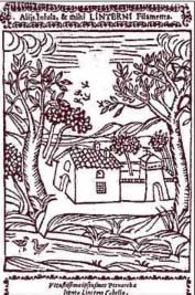 """""""Petrarcha redivivus"""" di Jacopo Filippo Tomasini del 1650. In primo piano il fontanile Marcionino"""